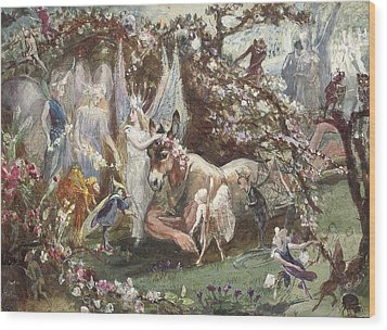 Titania And Bottom Wood Print by John Anster Fitzgerald