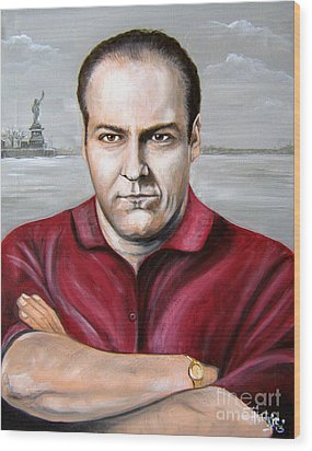 Wood Print featuring the painting Tony Soprano by Patrice Torrillo