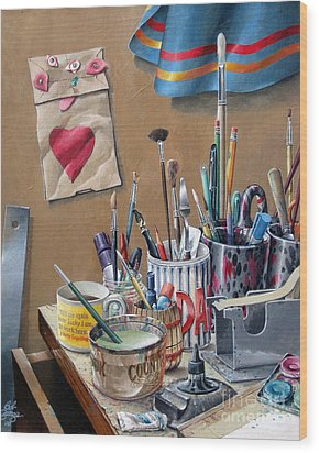 Tools Of The Trade Wood Print by Bob  George