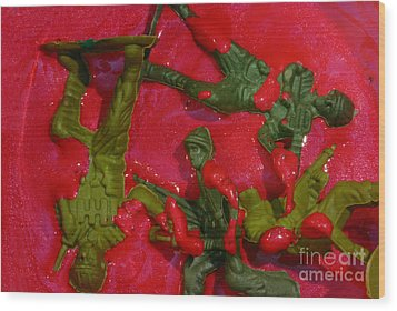 Toy Soldiers In A Pool Of Blood Wood Print by Amy Cicconi