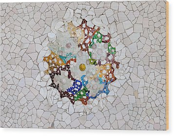 Trencadis Mosaic In Park Guell In Barcelona Wood Print by Artur Bogacki