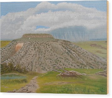 Wood Print featuring the painting Tucumcari Mountain Reflections On Route 66 by Sheri Keith