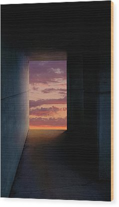 Tunnel With Light Wood Print by Melinda Fawver