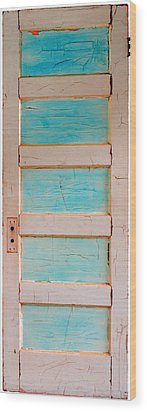 Turquoise Doorway And Ladder To The Sky Wood Print by Asha Carolyn Young