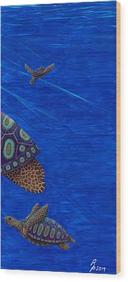 Turtle Painting Bomber Triptych 3 Wood Print by Rebecca Parker