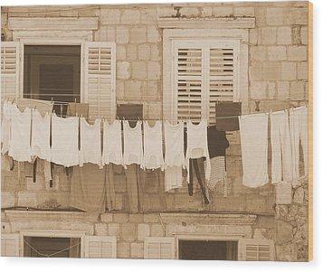Tuscan Laundry Wood Print by Ramona Johnston