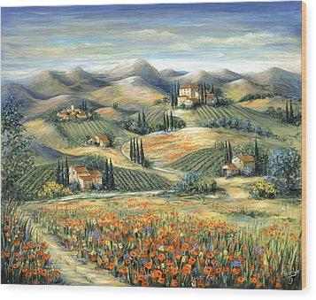 Tuscan Villa And Poppies Wood Print by Marilyn Dunlap