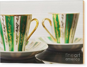 Two Coffee Cups Wood Print by Aleksey Tugolukov