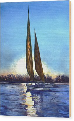 Two Sails At Sunset Wood Print by Ruth Bodycott
