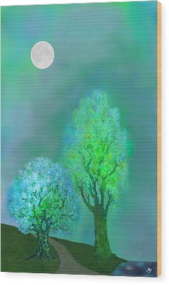 unbordered DREAM TREES AT TWILIGHT Wood Print by Mathilde Vhargon