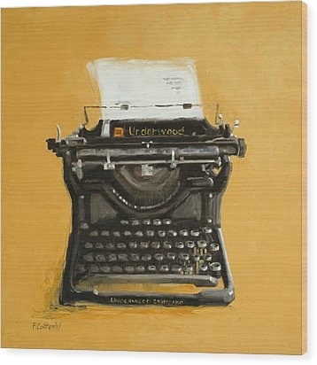 Underwood Typewriter Wood Print by Patricia Cotterill
