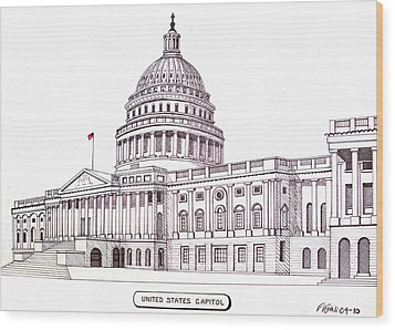 United States Capitol Wood Print by Frederic Kohli