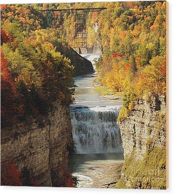 Upper Falls Wood Print by Kathleen Struckle