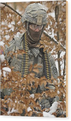 U.s. Army Soldier Conducts A Dismounted Wood Print by Stocktrek Images