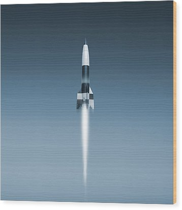 V-2 Rocket Launch, Artwork Wood Print by Science Photo Library