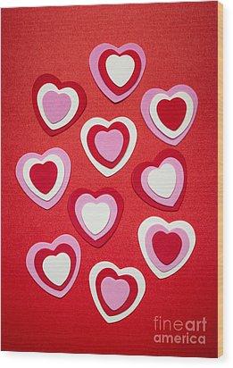 Valentines Day Hearts Wood Print by Elena Elisseeva