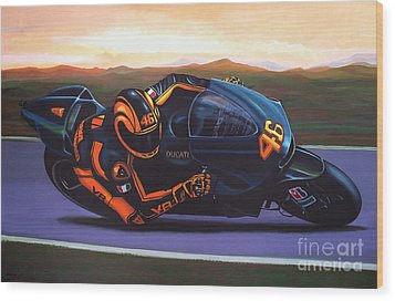 Valentino Rossi On Ducati Wood Print by Paul Meijering