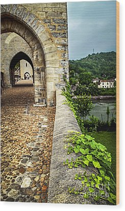 Valentre Bridge In Cahors France Wood Print by Elena Elisseeva