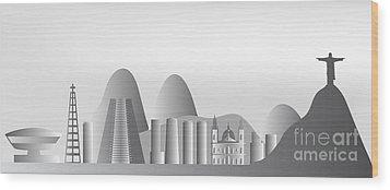 vector Rio de Janeiro skyline Wood Print by Michal Boubin