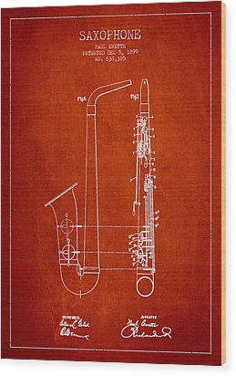 Saxophone Patent Drawing From 1899 - Red Wood Print by Aged Pixel