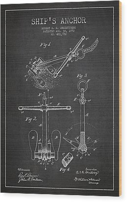 Vintage Ship Anchor Patent From 1892 Wood Print by Aged Pixel