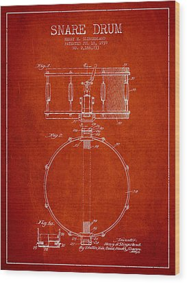 Snare Drum Patent Drawing From 1939 - Red Wood Print by Aged Pixel