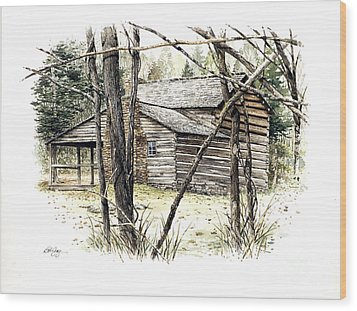 Walker Sisters Farm House Wood Print by Bob  George