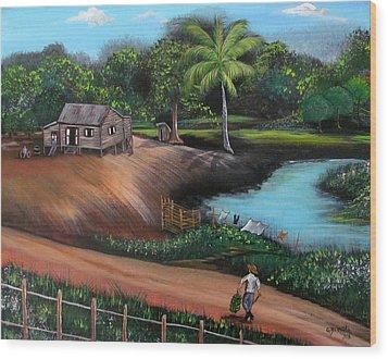 Walking Home Wood Print by Gloria E Barreto-Rodriguez