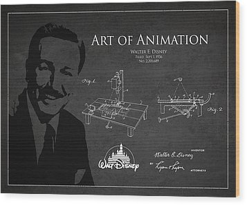 Walt Disney Patent From 1936 Wood Print by Aged Pixel