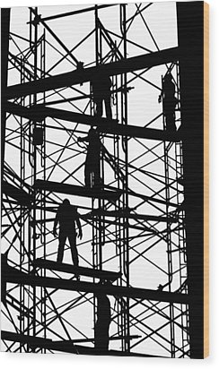 Water Tower Silhouette  Wood Print by Allen Beatty