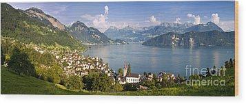 Weggis Switzerland Wood Print by Brian Jannsen