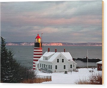 West Quoddy Head Lighthouse Wood Print by Alana Ranney