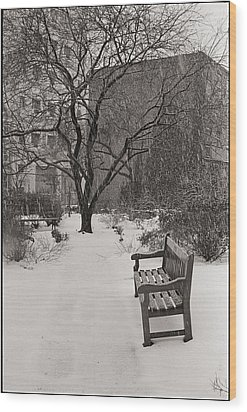 West Village Snow  Wood Print