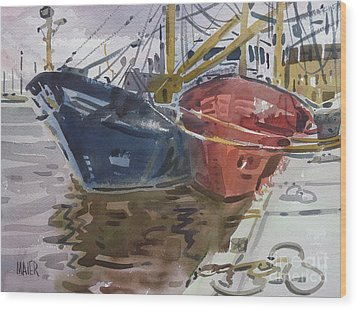 Wood Print featuring the painting Wexford Fishing Boats by Donald Maier