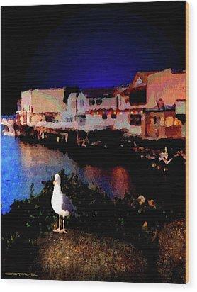 Wharf Gull Wood Print