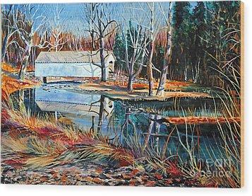 White Covered Bridge Wood Print by Doug Heavlow