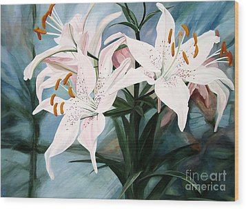 Wood Print featuring the painting White Lilies by Laurie Rohner