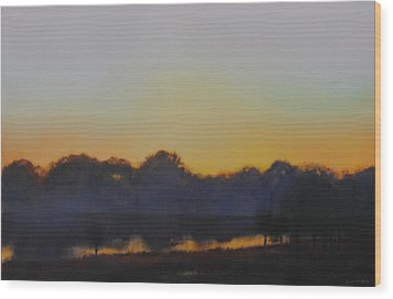 Wood Print featuring the painting White Rock Lake Dusk Sold by Cap Pannell