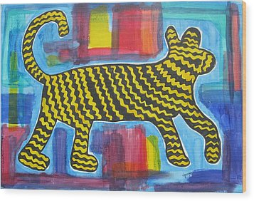 Wild Cat Wood Print by Diane Pape