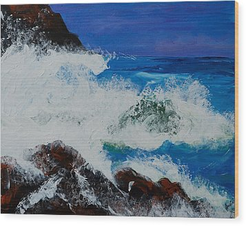 Wood Print featuring the painting Wild Sea by Judi Goodwin