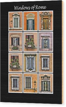 Windows Of Rome Wood Print