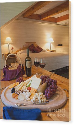 Wine And Cheese In A Luxurious Hotel Room. Wood Print