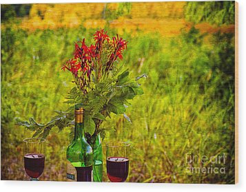 Wine And Flowers Wood Print by Les Palenik