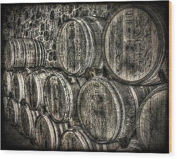 Wine Barrels Wood Print by Deborah Knolle