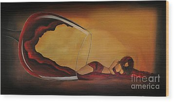 Wine-spilled Woman Wood Print