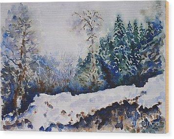 Winter In Dombay Wood Print by Zaira Dzhaubaeva