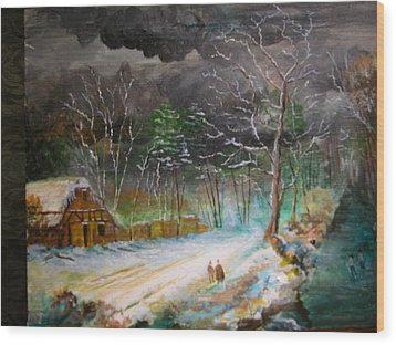 Winter Landscape Wood Print by Egidio Graziani