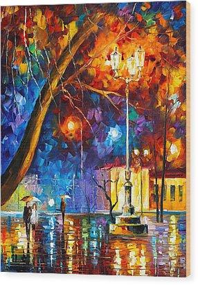 Winter Rain Wood Print by Leonid Afremov