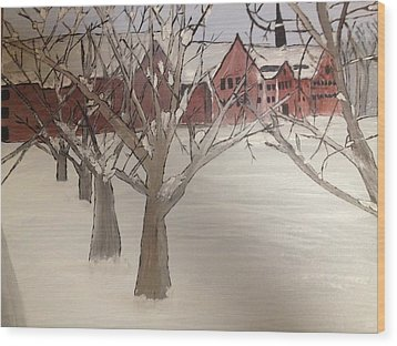 Wood Print featuring the painting Winter University by Paula Brown