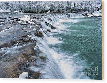 Winter Waterfall Wood Print by Thomas R Fletcher